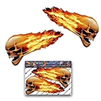 2 X FLAMING SKULLS Small Scary Funny Car Stickers Motorcycle Vinyl Decals ST00016TP_SML - JAS Stickers