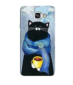 Citydreamz Black Cute Cat Winters Coffee Rains Hard Polycarbonate Designer Back Case Cover For Samsung Galaxy A7 2016 Edition/Samsung Galaxy A710