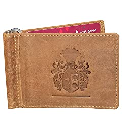 Style98 Tan Genuine Leather Unisex Slim Money Clip Wallet||Small Wallet