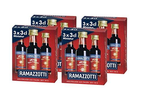 Ramazzotti Amaro/Der italienische Digestif mit 33 verschiedenen Kräutern/Absacker mit perfekter bittersüßen Note/4 x 3 x 0,03 L