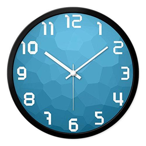 Horloges Balayage Secondes Mute Silencieux Murale Ronde Metallic et Montres Quartz Convient pour Chambre et Salon Taille 30.5cm (12inch) (Color : Blue-A, Size : 30.5cm(12inch))