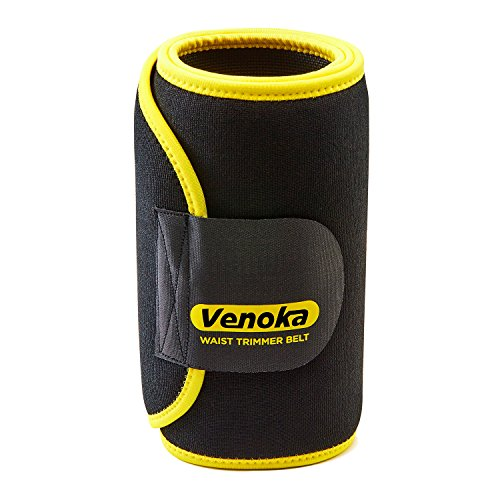 Venoka Faja Reductora de Neopreno Ajustable Hombre/Mujer Cinturón Reductor Abdominal de Sudoración Adelgazar para Cintura / Espalda / Lumbar (Amarilla, 122 x 26 CM)