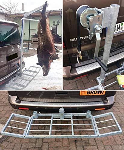 Komplett-Set Wildträger Wildi bis 250 kg inkl. Winde und Aufbrechgalgen, Heckträger, Transportträger