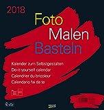Foto-Malen-Basteln Bastelkalender schwarz groß 2018: Fotokalender zum Selbstgestalten. Do-it-yourself Kalender mit festem Fotokarton. Format: 45,5 x 48 cm