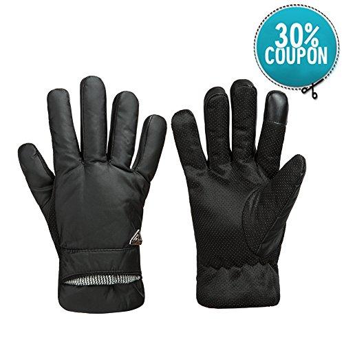 GLOUE Herren Handschuhe Warme Handschuhe Winter Outdoor-Sport Wasserdicht Winddicht Touchscreen Winterfest Rutschfest Abriebfest Fahrrad Motorrad Skilaufen Schwarz (Fahrrad-winter-handschuhe Der Männer)