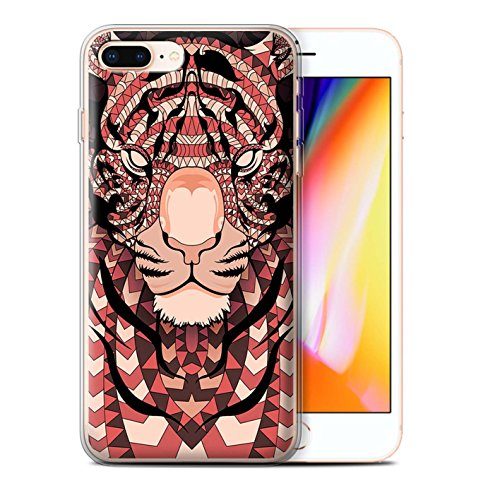 Coque Gel TPU de STUFF4 / Coque pour Apple iPhone 7 Plus / Loup-Bleu Design / Motif Animaux Aztec Collection Tigre-Rouge