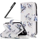 Schutzhülle Galaxy S3 Weiß,Brieftasche für Samsung Galaxy S3,BtDuck Ledertasche PU Leder Hülle Wallet Flip Cover für Samsung Galaxy S3 Stand Etui Case Rechnung Tasche Handyhülle - Blauer Schmetterling