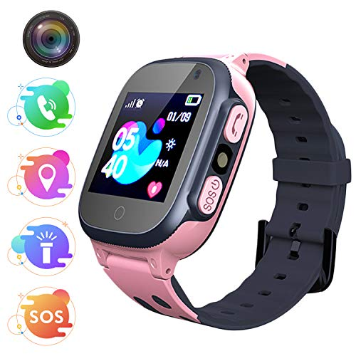 Jaybest Niños SmartWatch Phone - Niños Smartwatch con rastreador de LBS con Linterna de Llamada SOS cámara Pantalla táctil Juego Smartwatch Childrens Gift (Q15-Pink)