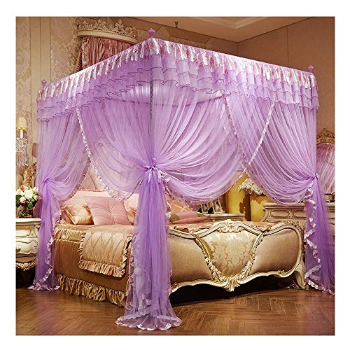 DUXY Moskitonetz, Bett Canopy Spitze Luxus 4 Corner quadratisch Princess Fliegengitter, bodenstehende Baldachin-Vorhänge, Indoor Outdoor (Include Bracket),Purple,150x200cm -