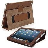 Étui iPad 3 & 4, Snugg ™ - Housse de Protection Marron, Style Smart Case Avec Garantie à Vie Pour Apple iPad 3 et iPad 5