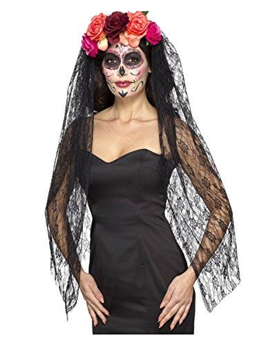Day of the dead Haarreif mit Schleier und Rosen für Halloween und Tag der Toten (Sugar Skull Braut Kostüm)