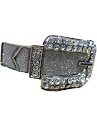 Brand New On Card Silver Grey Glitter Crystal Stardust Belt Buckle Bangle / Bracelet Hinged Opening