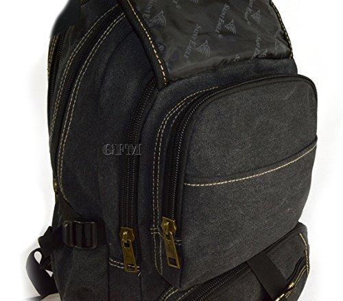 GFM groß Multi Pocket Leinwand Schulterband Rucksack Reisen, Urlaub, Wandern, Schule, Sport, Gym Army Green (#HR0)