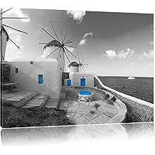 mulini a vento dolci nel Mediterraneo nero / bianco Formato: 100x70 su tela, enorme XXL Immagini completamente Pagina con la barella, stampa d'arte su murale con la struttura, più economico di pittura o pittura ad olio, nessun manifesto o poster