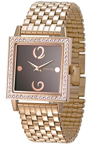 Moog Paris Twisted Montre Femme avec Cadran Noir, Eléments Swarovski, Bracelet Rose Gold en Acier Inoxydable - M45604-005