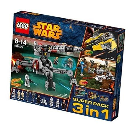 LEGO 66495 Star Wars Super Pack 3 in 1 bestehend aus: 75038 Jedi Interceptor, 75037 Battle on Saleucami, 75045 Republic AV-7 Anti-Vehicle Cannon - Wars Star Lego Clone Spielzeug