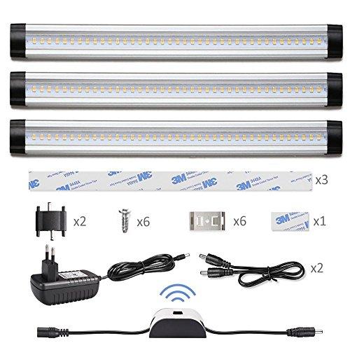 Ustellar 3er LED Unterbauleuchte mit Bewegungsmelder , Insgesamt 12W 900lm Schrankleuchte Set , Ersatz für 24W Leuchtstoffröhre , 3000K Warmweiß Lichtleiste , 30cm 12V Schranklampe Unterbaulampe für Küche Kleiderschrank