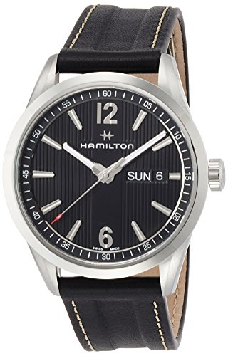 HAMILTON MEN'S 40MM BLACK LEATHER BAND STEEL CASE QUARTZ WATCH H43311735