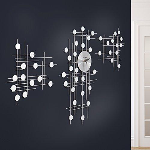 Jago Wanduhr im Futuristischen Design | Silber, 3-teilig, mit Kleinen Spiegeln, Freie Anordnung | Designer Uhr für Wohnzimmer, Schlafzimmer, Kinderzimmer - Möbel Uhr