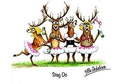 Idea Regalo - Stags o Deer cartolina di auguri addio al celibato di Alex Underdown