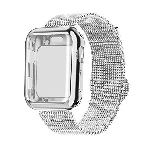 INZAKI Kompatibel für Apple Watch Armband mit Hülle 42mm, Edelstahl Netz Milanese Schlaufen Armband mit Displayschutz Schlankes case für iWatch Series 3/2 / 1, Sport, Edition,Silber