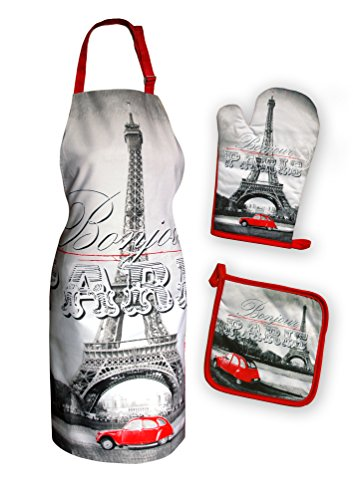 Maxi&Mini - Set da cucina, grembiule, guanto, presina, 2cv, motivo Torre Riffel Parigi, colore: Rosso