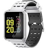 Fitness Tracker mit Herzfrequenz, elecfan Bluetooth 4.2 Smart Watch IP68 Wasserdicht mit Blutdruck, Schrittzähler, Kalorienzähler, Schlafmonitor, Vibrationsalarm Fitness Tracker für iOS iPhone und Android Smartphones für Herren Damen Kinder - Weiß