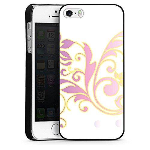 Apple iPhone 4 Housse Étui Silicone Coque Protection Motif floral Ornements Floral CasDur noir