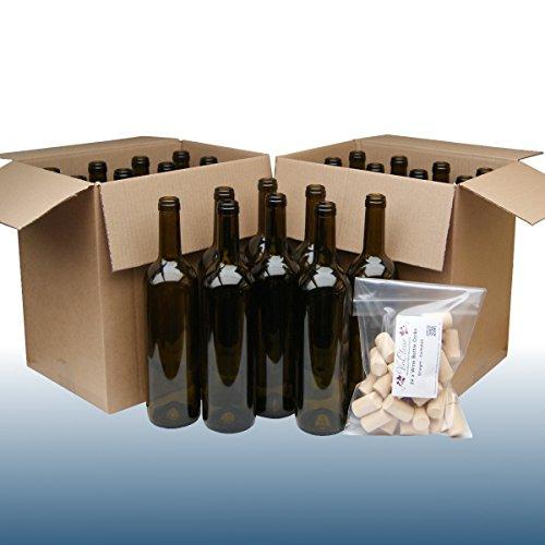 Home Brew & Wine making - Pack Of 24 Green Wine Bottles With Balliihoo Corks