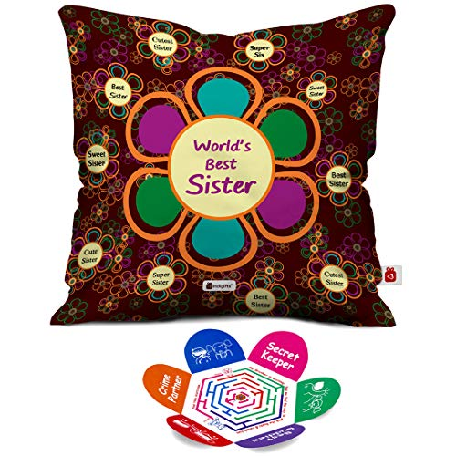 Indigifts Rakhi Gift For Sister Worlds Best Sis Quote Mehroon Cushion Cover 12x12 Inches With Filler