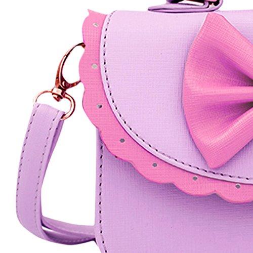 Happy Cherry–Borsetta a tracolla per bambini e ragazze, borsa a mano in pelle PU con fiocco farfalla, età 3–12anni Violet