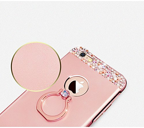 Case iPhone 6 Plus,iPhone 6S Plus Cover,Diamante Bling Glitter Lusso Cristallo Strass Morbida Rubber Full body [Rotazione Grip Ring Kickstand] con Supporto Dellanello Shock-Absorption Bumper e Anti-S oro rosa
