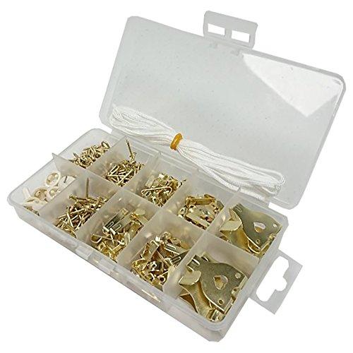 Bulk Hardware bh06589Sortiment Bilderhaken, Bild Pins, Bild Kordel & Schraube Augen in eine 10fach Tragetasche. -
