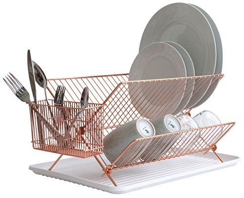 Bloomsbury Mill - 2 Tier Folding Dish Drainer - Collapsible Dryer Rack with Cutlery Holder and Drip Tray - Anti-Rust - Copper