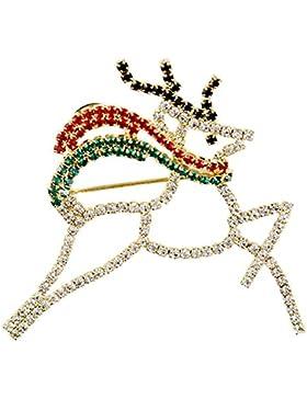 Festliches Weihnachtsmotiv 18 K vergoldet Glaskristall Hirsch Rentier Brosche Glaskristall groß
