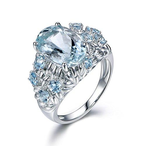 Yosemite Lady Charmant Bijoux de fiançailles Bleu artificielle Bague doigt Femme Cadeau, bleu clair, US 6
