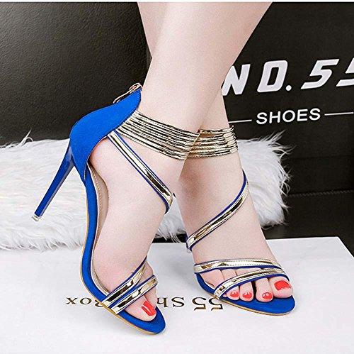 NobS Open-Toed Tacchi Alti Scarpe Donna Metallo Cinturino Alla Caviglia Abbinamento Di Colore Cerniera Sandali Blue