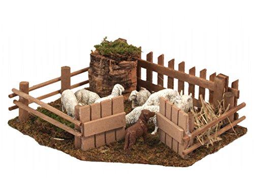 Bertoni miniature sheepfold farm with dog figurine, legno, 19x 16x 19cm