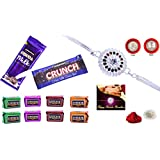 Rakhi Combo - Designer Rakhi (Silver Color / Plated Rakhi) With Choclate Combo (R1_P_C10) | Rakhi Gifts For Brother...
