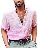 ShallGood Herren Leinen Langarmshirt Henley Freizeithemd Regular Fit Kragenloses Shirt Rosa X-Large