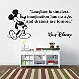 Mickey Mouse Laughter is Timeless Children's Wall Sticker Vinyl Mural Wall Art Décor - Regular Size by V&C Designs Ltd