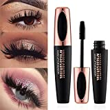 Aolvo 4D Silk Fiber Eyelash Mascara, Extra Long Lash Mascara Waterproof Not Blooming Curling Natural Eye Makeup Long Lasting