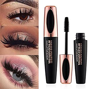 Aolvo 4D Silk Fiber Eyelash Mascara, Extra Long Lash Mascara Waterproof Not Blooming Curling Natural Eye Makeup Long Lasting