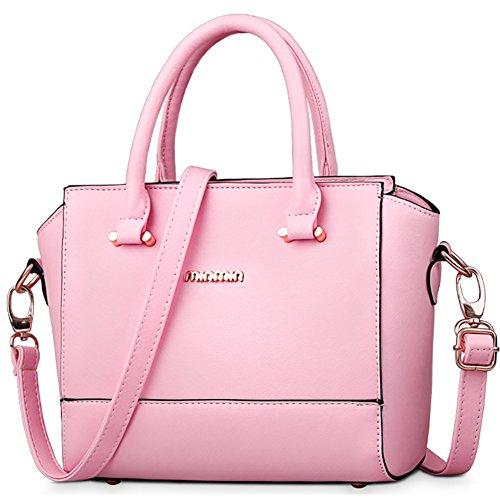 fanhappygo Fashion Retro Leder Damen Freizeit Aktentasche Schulterbeutel Umhängetaschen Abendtaschen rosa