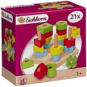 Eichhorn 100002087 – Steckplatte, 21-teilig, holz natur/bunt – 19×17,5×10,5 cm – 5 verschiedene Stecksymbole –