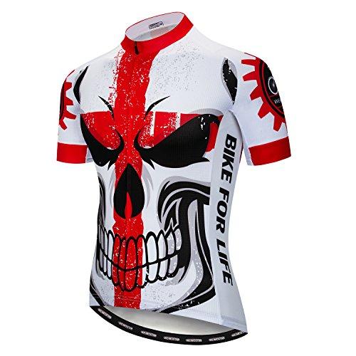 Weimostar Radfahren Jersey Männer Mountainbike Trikot Full Zip Fahrrad Shirt Laufende Top Road MTB Kleidung Schädel rot Größe XL -