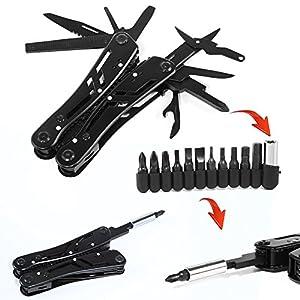 Phego 24 en 1 plegables alicates multi de la herramienta, alicates de acero inoxidable plegable camping cuchillo Combizange camping esencial (Negro 2)