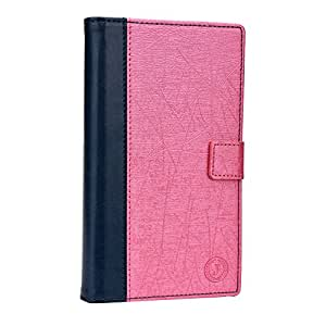 J Cover Saturn Series Leather Pouch Flip Case For Lyf Flame 5 Dark Blue Pink