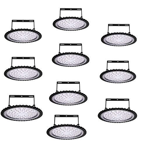10-er pack UFO LED Beleuchtung,IP65 100W Glänzende Beleuchtung Kaltweiß 6000-6500K, Abstrahlwinkel 120° LED Hallenleuchte Industrial Kronleuchter für Werkstätten und Fabrikhallen usw(10er-Pack 100W) -