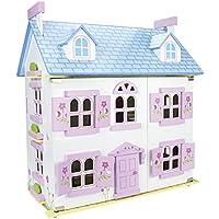 Casa de muñecas de madera con muebles y muñecos